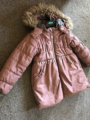 Designer Hust And Clare Girls Parka Coat Dusty Pink 5-6 6 Years