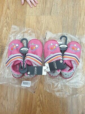 2 pairs George Pink Girls Slippers Toddler size 9 & 10 *New*