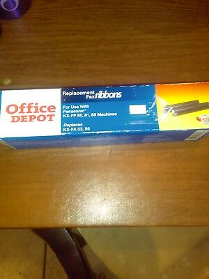 New Office Depot Replacement Fax Ribbons (2) Replaces Fx-Fa 53, 55