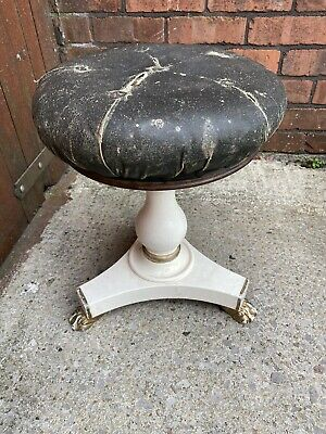 Vintage Leather Topped Stool/ Dressing Table Stool