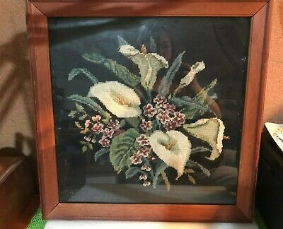 ANTIQUE FRAMED NEEDLEPOINT CALLA LILIES under glass wood frame