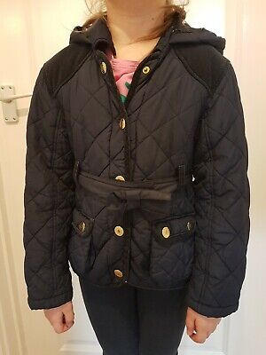 TU girls navy jacket with belt, age 7 -8, good condition