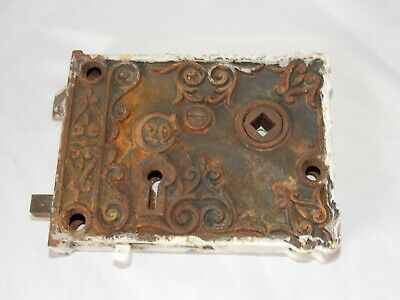 ANTIQUE CAST IRON ORNATE DOOR C20 Rim LOCK  Victorian Style No Skeleton Key
