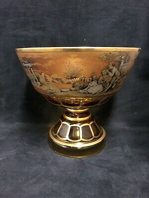 Moser  Amber Glass Hand Painted Footed Bowl Signed J.m. Pohl