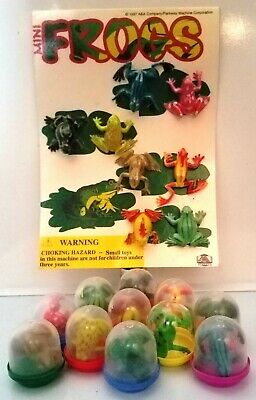 """Frogs LOT OF 12/Full Set Frog Toad Miniatures in 1"""" Toy Vending Capsules NEW"""