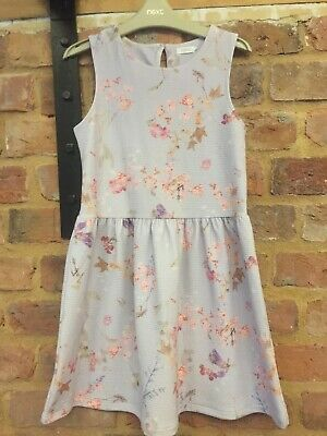 Next Beautiful Lilac Floral Flower Skater Dress 10 Years Worn Once