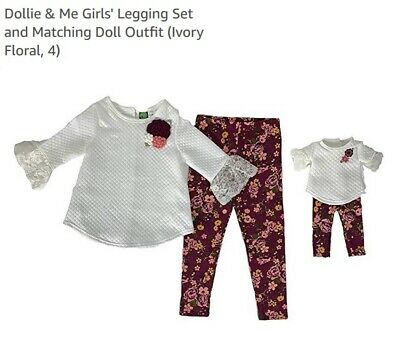 """Girl 4-10 and 18/"""" Doll Matching Flannel Tunic Top Leggings Outfit American Girl"""