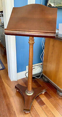 """Wood Pedestal/ Podium Music Book Lecturn Stand By Bombay Company, 44"""" Height."""