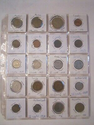20 Coins In Sleeves - Mexico Canada Tunisia Chile & More 1929 - 1993 - Lot 4