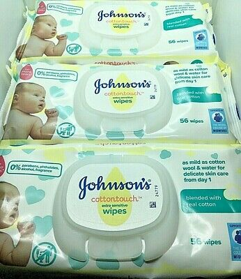 Johnson's Cotton Touch Extra Sensitive Gentle Baby Wipes 3 Packs.