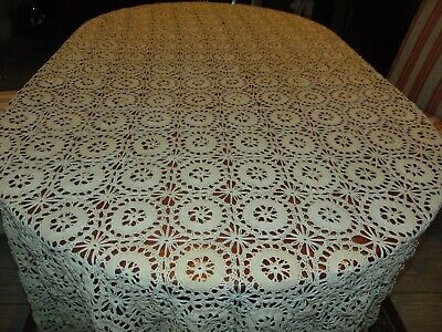 Antique Hand Crochet  Ecru Tablecloth/ Coverlet  104 X 110