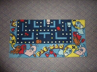 """Vintage Pac-Man Carpet Rug 1980s Midway Bally Official Pacman Retro Rare 33x17"""""""