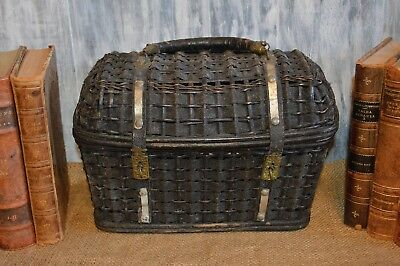 Antique French Black Woven Country Market Sewing Basket Leather Handles Brass