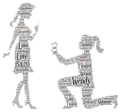 Personalised Gay Engagement Mrs /& Mrs Proposal Word Art Gift