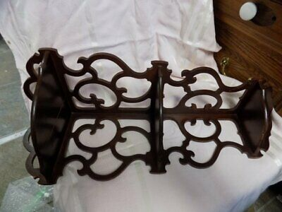 "Vintage Ornate Corner Wall Shelf~Walnut?~Fret Work~22"" Long"