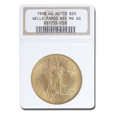 1908 $20 Saint-Gaudens Gold No Motto MS-66 NGC (Wells Fargo) - SKU#54885