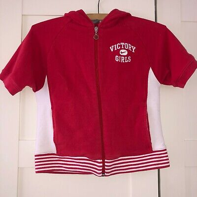 Girls Nike Red Zip Up Short Sleeve Hoody Size Medium / Age 10
