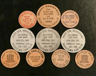 Collector Lot of 10 Vintage WOODEN NICKELS DOLLARS Coins Tokens Assorted from CT