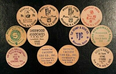 Collector Lot of 12 Vintage WOODEN NICKELS Coins Tokens: RI, NY, ME, PA, MA, NH