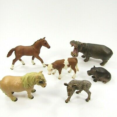 Schleich Animal Lot Hippo Mom baby Horse Shetland Pony Colt Cow Moose Calf
