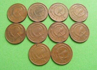 1971 Irish Decimal Half Penny Coins Lot Of 10 First Year Issued Old Ireland