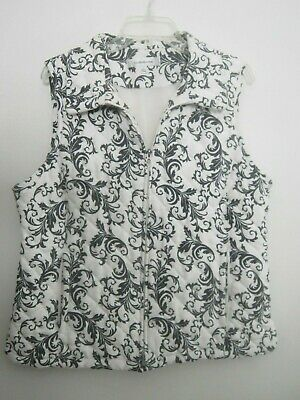 Croft & Barrow Navy & White Floral Quilted Vest Size Large