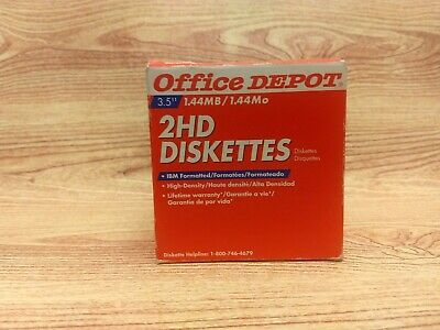 """25 New Office Depot 2HD Diskettes 3.5"""" 1.44MB High Density IBM Formatted"""