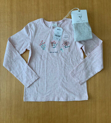 Next Girls Long Sleeved Top And Tights Set Age 5-6 Years Bnwt Flowers Sequins