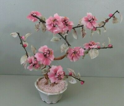 Vintage Pink Jade Glass Cherry Blossom Bonsai Tree