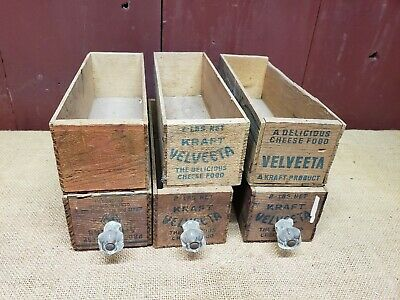 6 Wooden Kraft Velveta 2 Lb. Cheese Box / Boxes Vintage Antique Drawers