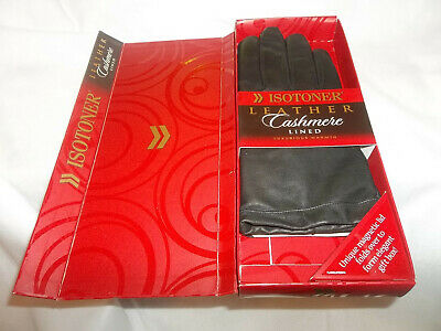 NIB Isotoner Leather Cashmere Women's Gloves Black Size 7.5 In Gift Box Luxury