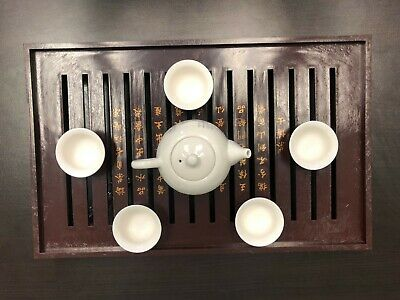 CHINESE  Ceramic Kung Fu Tea Set  5 Cups With Tea Pot and Tea Tray