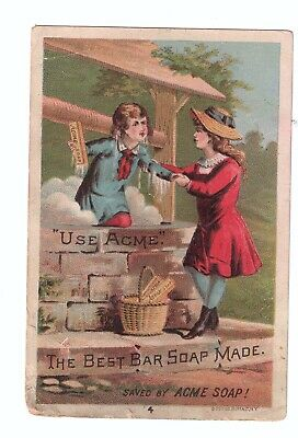 Vintage Ad Card. Acme Soap, Chas Apel Groceries and Provisions. Detroit MI 1890s