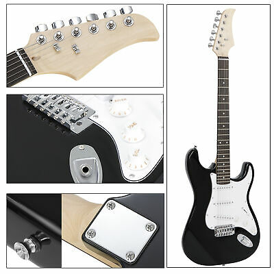 "39"" Black Electric Guitar with Amp Case and Accessories Pack Beginner Full Size"