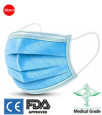 50x Face Mask 3 Layer Surgical Disposable Mouth Guard Cover FaceMask Respiration