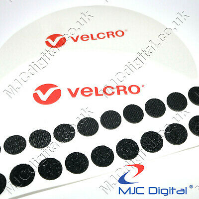 22mm Coins VELCRO® Brand Self Adhesive Sticky Pads Fasteners Stick On BLACK