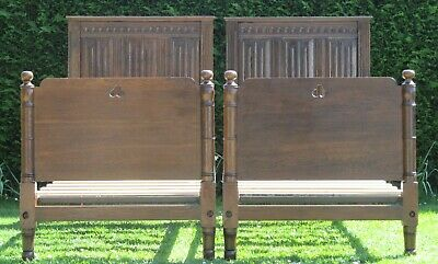 Beautiful Pair of Gothic Solid Carved Oak Single 3ft wide Beds & Pine Bases