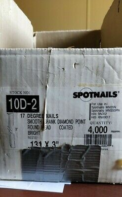 "(1000 PCS) 3 inch long SPOTNAILS 17 degree nails .131 X 3"" Stock Number: 10D-2"