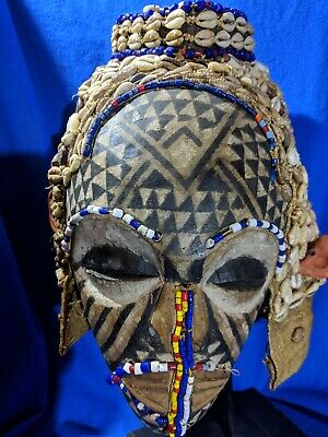 Kuba Mask with Amazing Cowrie Headdress — Authentic Carved African Wood Art
