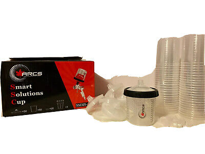 Automotive Spray Paint Gun Cup System PPS 50x New Harder Lids & liners kit prep