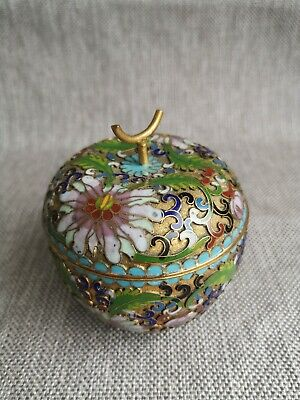 Vintage Chinese Cloisonne Apple  With Lid