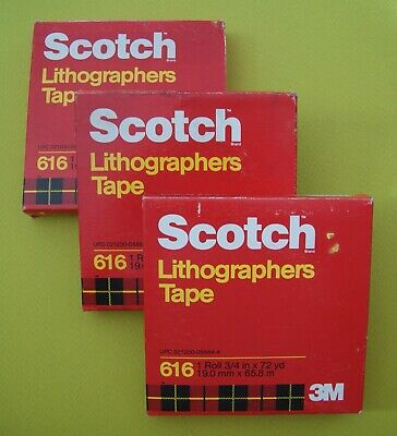"""1 New Box of Scotch 3M 616 Lithographers Tape 3/4"""" x 72 yds Ruby Red FREE SHIP"""