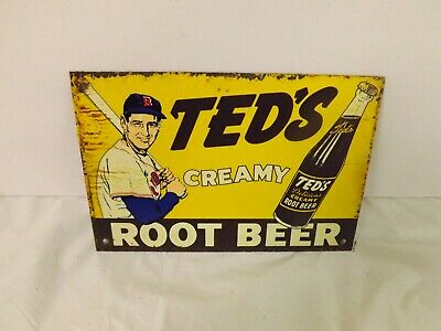 "Vintage Metal Ted's Root Beer Door Push Sign 6"" x 4"" SODA COLA BASEBALL Ted Will"