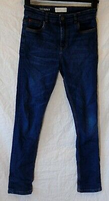 Boys Matalan Dark Indigo Blue Whiskered Denim Skinny Stretch Jeans Age 12 Years