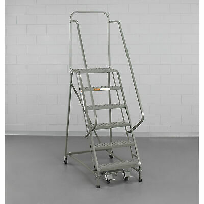 """EGA L001 Steel Industrial Rolling Ladder 2-Step, 16"""" Wide Perforated, Gray, 450"""
