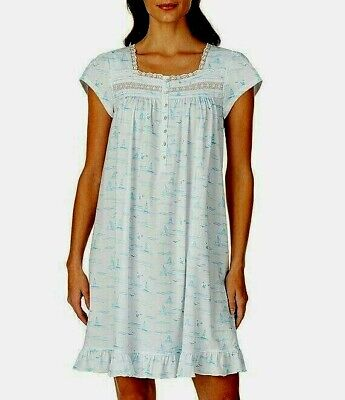 Eileen West Cap Sleeve Sailboat Print 100% Cotton Knit Short Nightgown Gown L