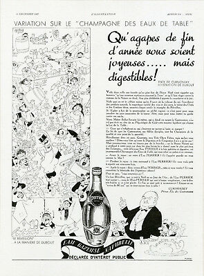 """PERRIER"" Annonce originale entoilée L'ILLUSTRATION 25/12/1937 (DUBOUT)"