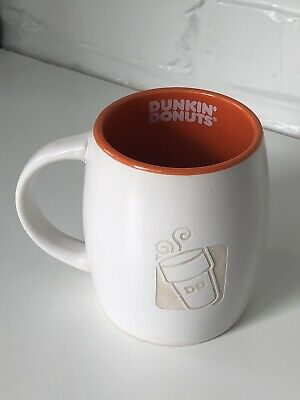 Dunkin' Donuts 2012 Engraved 14 Oz Ceramic Coffee Mug Cup Gift White Orange