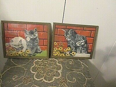 "2 Vintage Paint By Numbers GREY/BLACK Kittens with Flowers Framed 10"" x 9"""