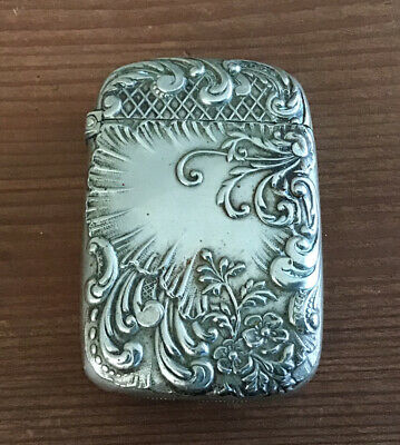 Antique Match Safe Vesta Case J. W. Tufts Silver Soldered 1.46 ounces